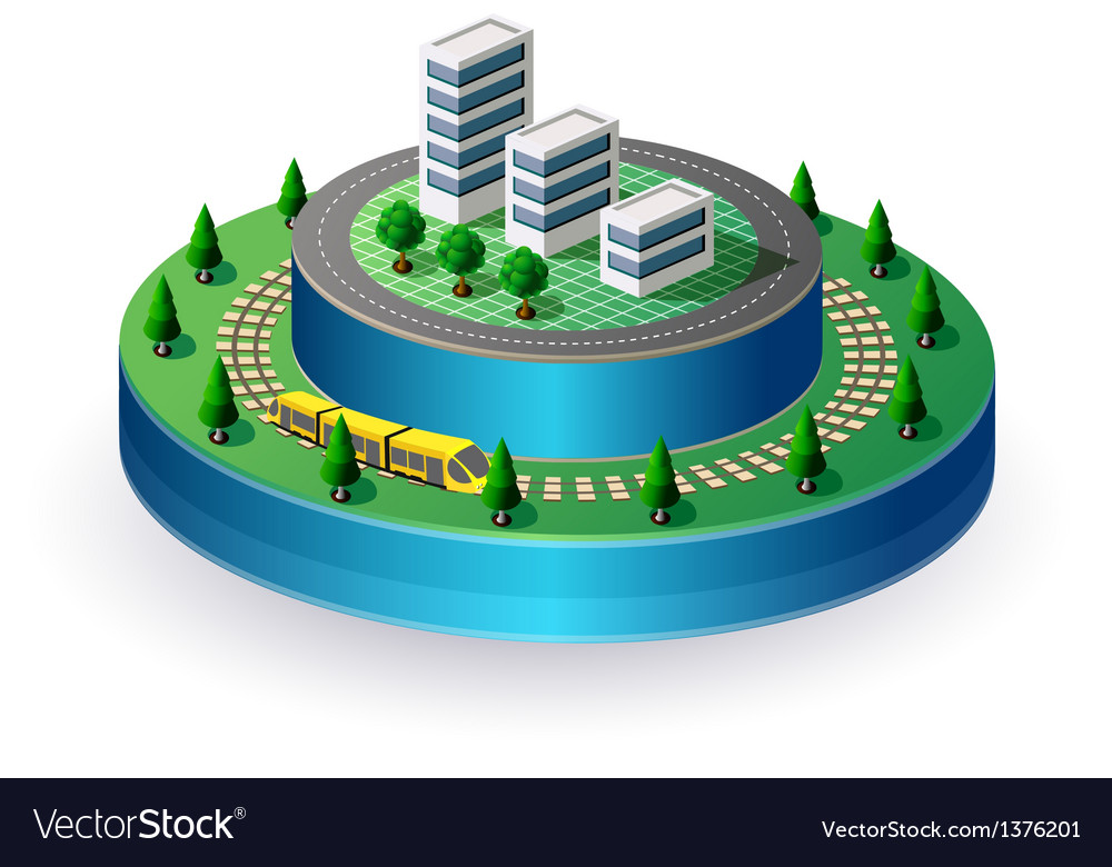 City on a round base vector | Price: 1 Credit (USD $1)