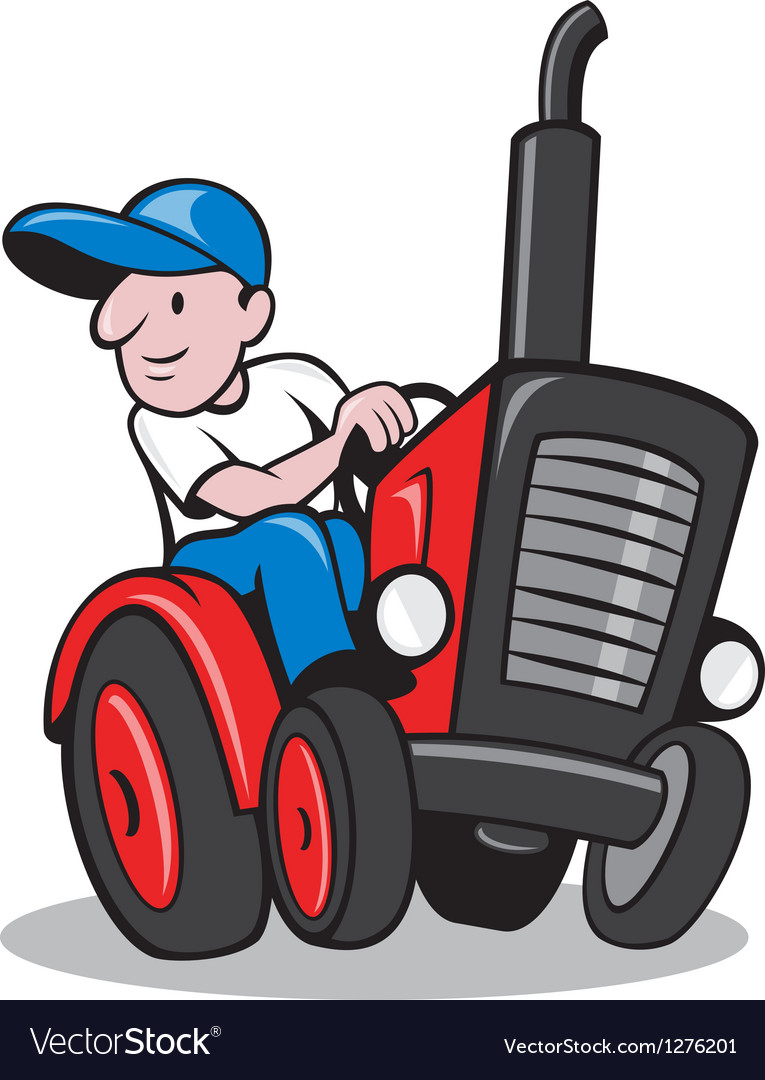 Farmer driving vintage tractor cartoon vector | Price: 1 Credit (USD $1)