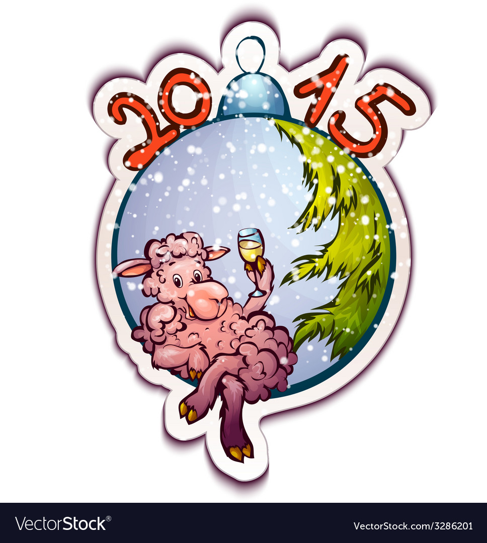 Fur-tree toy with funny sheep vector | Price: 3 Credit (USD $3)