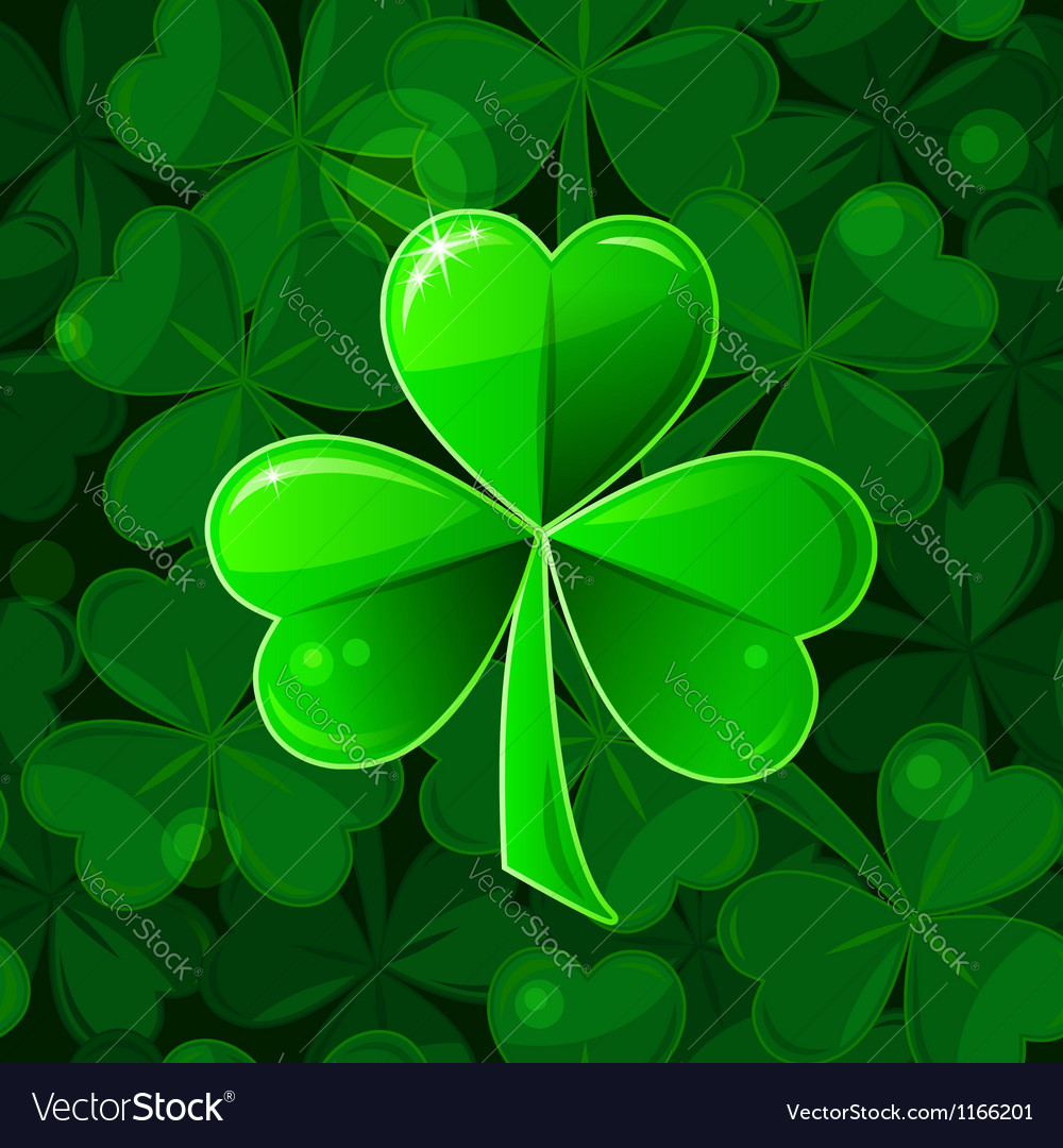 Green seamless background with clover shamrock vector | Price: 1 Credit (USD $1)