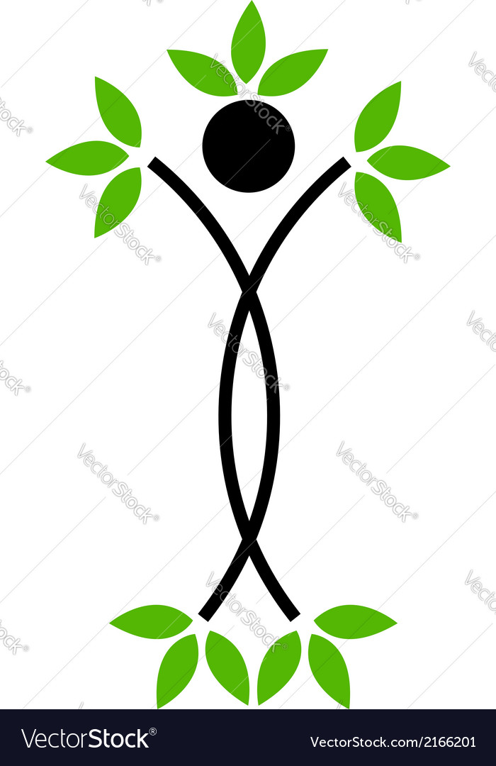 Human figure with green leaves vector | Price: 1 Credit (USD $1)