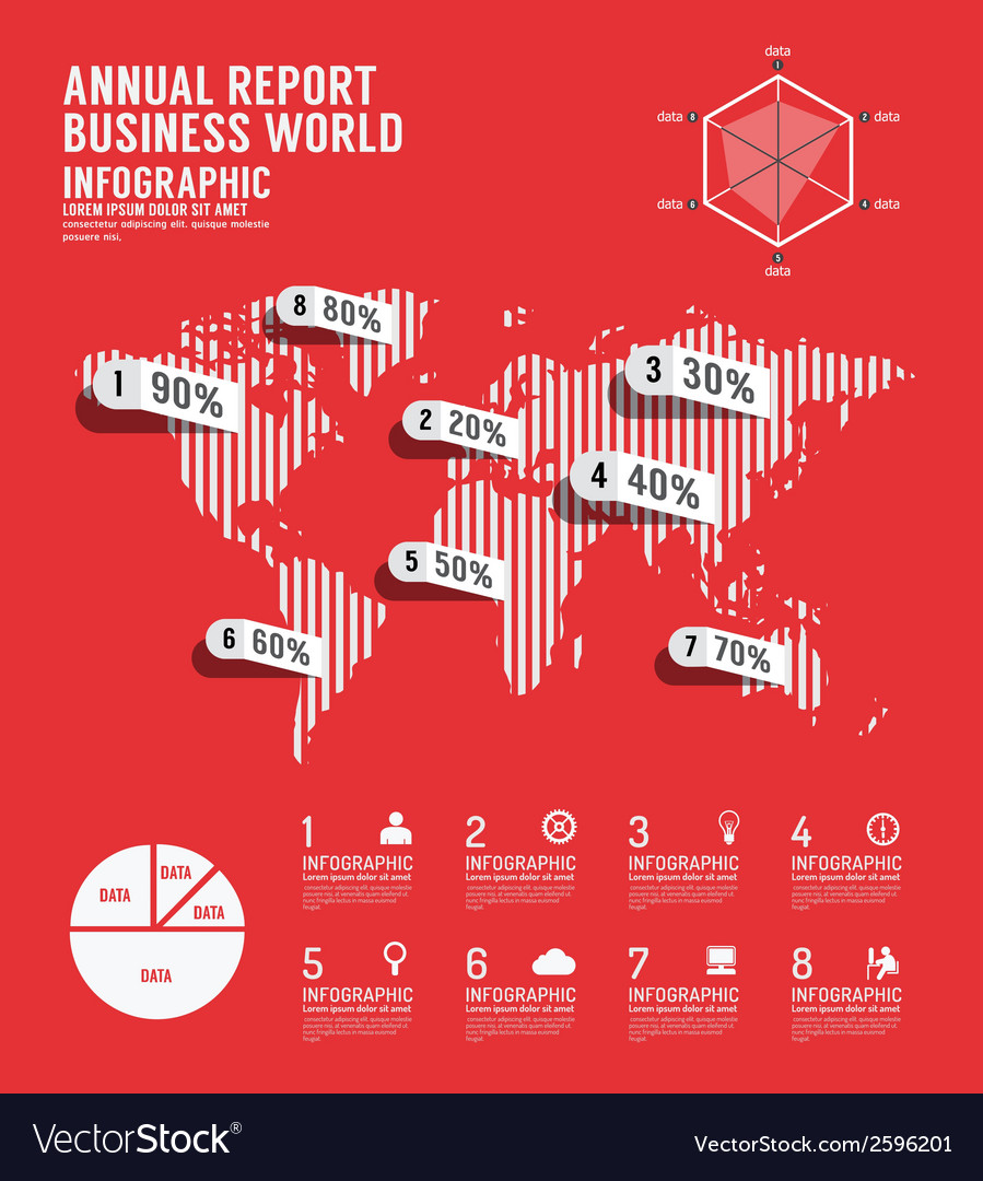 Infographic annual report business world vector | Price: 1 Credit (USD $1)