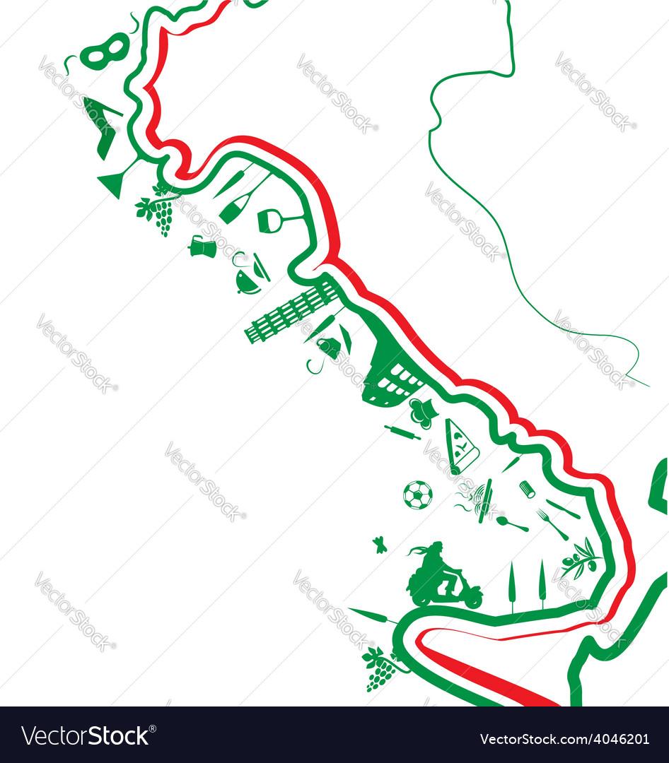 Italian map whit symbol vector | Price: 1 Credit (USD $1)