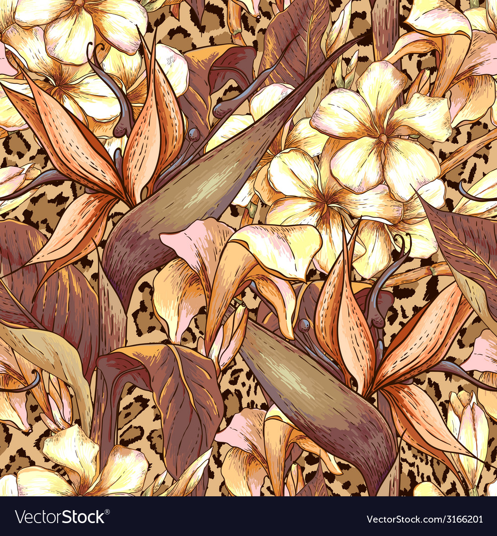 Seamless pattern with exotic flowers vector | Price: 1 Credit (USD $1)