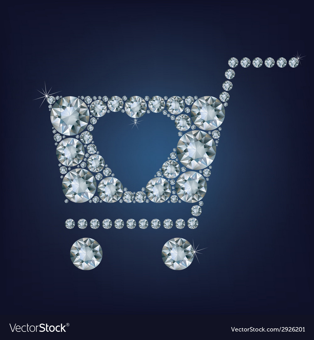 Shopping basket sign made a lot of diamonds vector | Price: 1 Credit (USD $1)