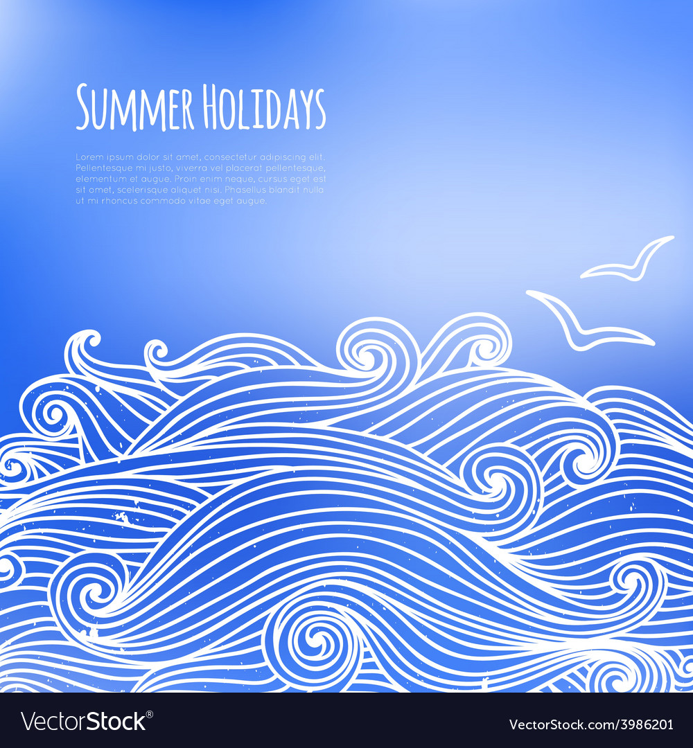 Summer background with sea waves vector | Price: 1 Credit (USD $1)