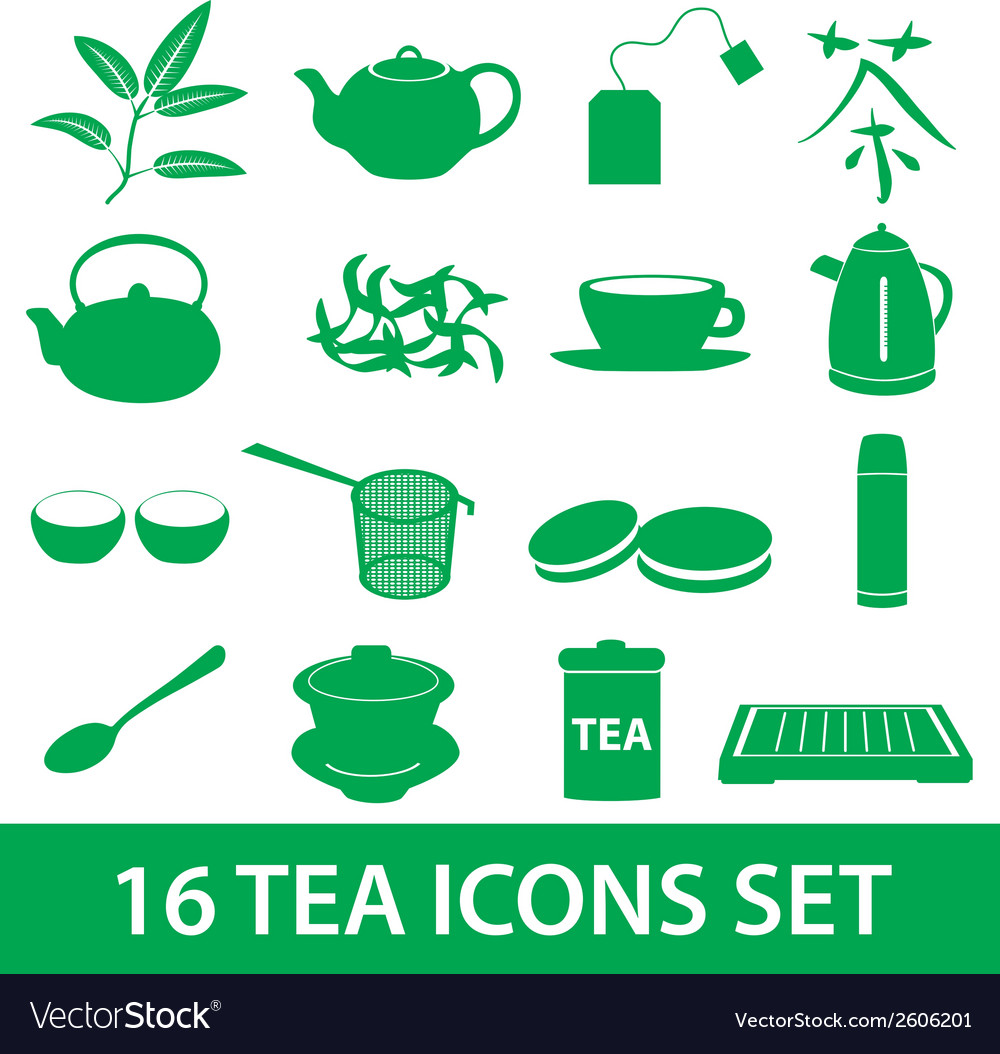 Tea icons set eps10 vector