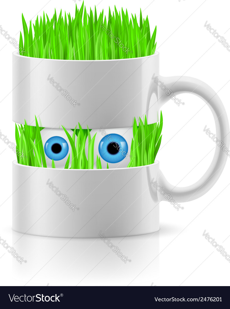 White mug of two parts with grass inside vector | Price: 1 Credit (USD $1)