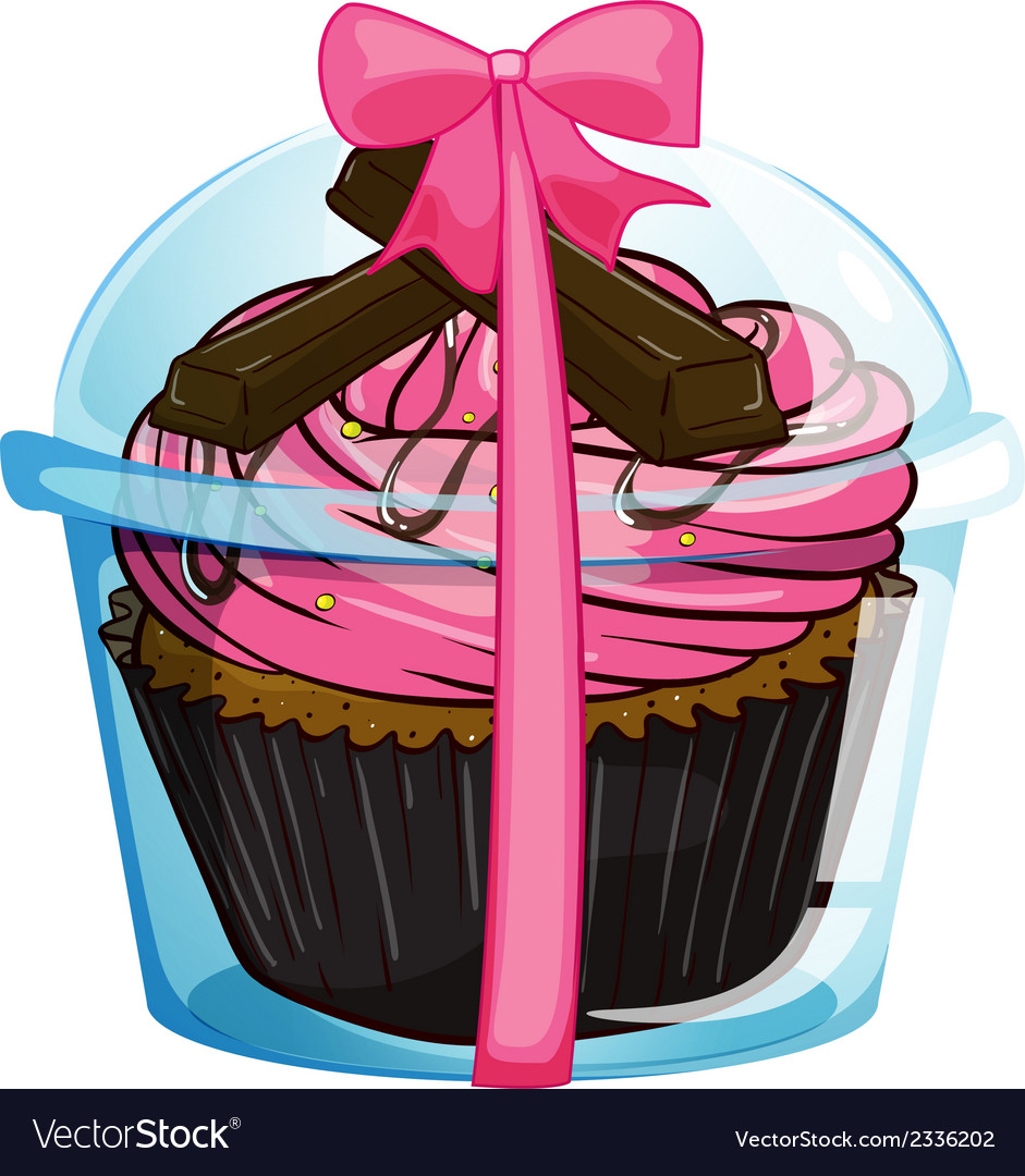 A cupcake with a pink icing vector | Price: 1 Credit (USD $1)