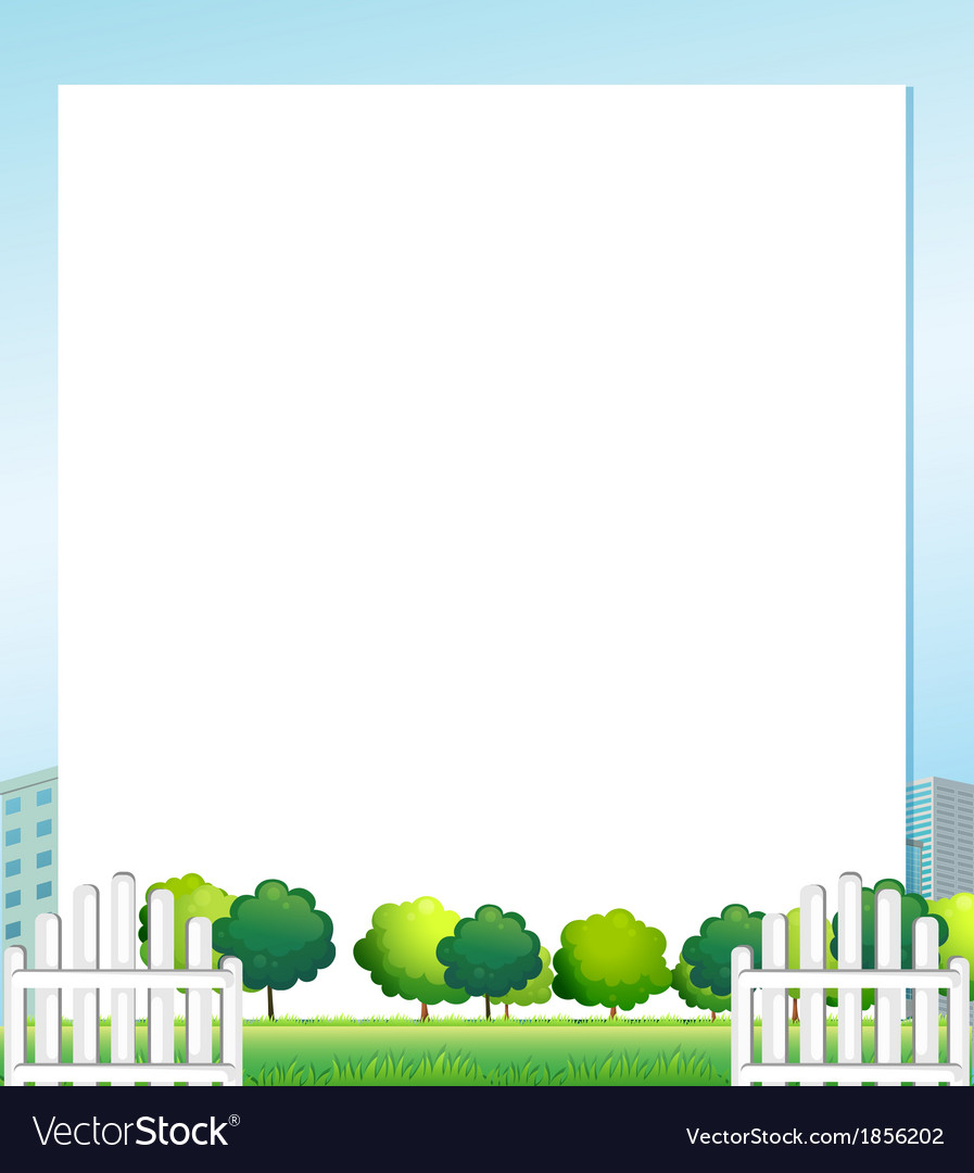 An empty paper with trees at the bottom vector | Price: 1 Credit (USD $1)