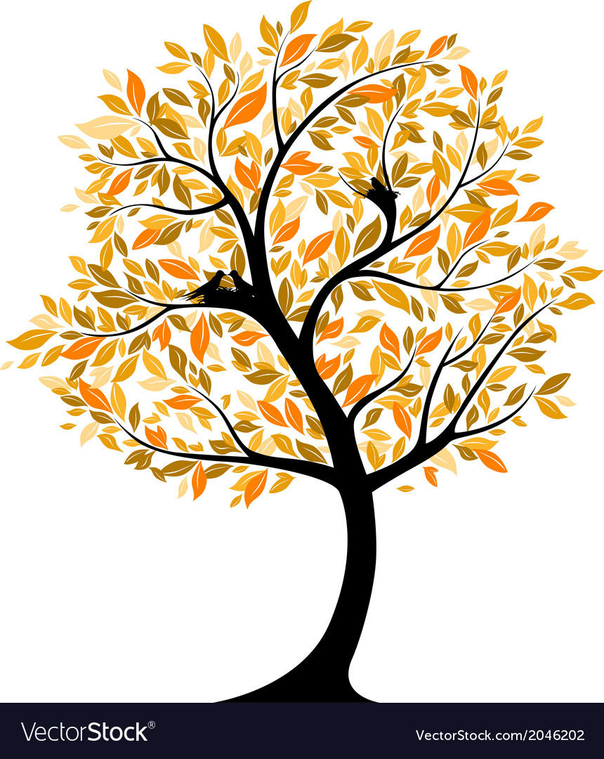 Autumnal tree with bird nests vector | Price: 1 Credit (USD $1)