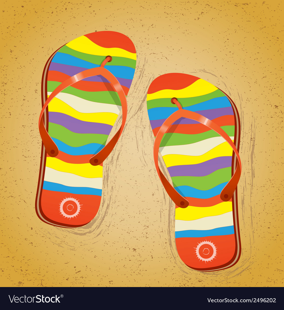 Beach slippers on sand vector | Price: 1 Credit (USD $1)