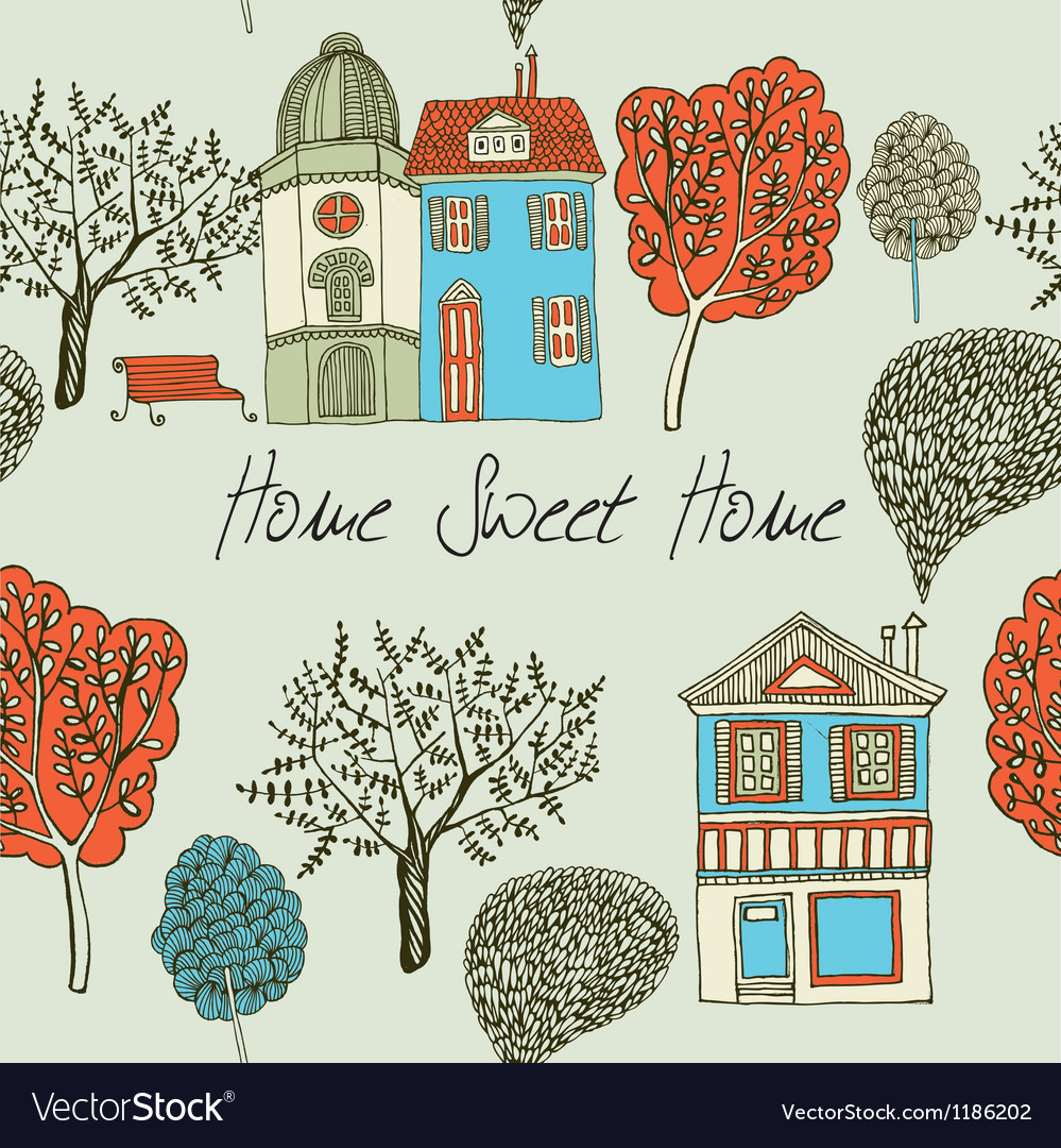 Home sweet home card seamless background vector | Price: 1 Credit (USD $1)