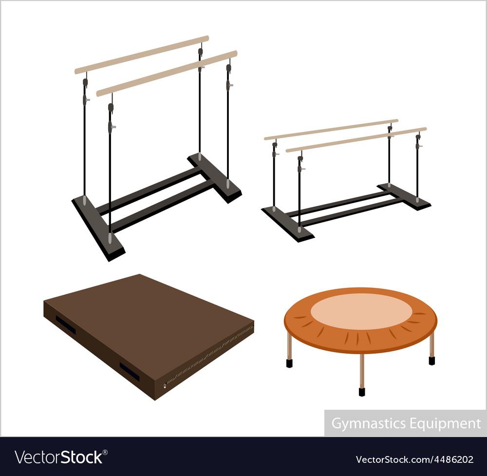 Set of gymnastics equipment on white background vector | Price: 1 Credit (USD $1)