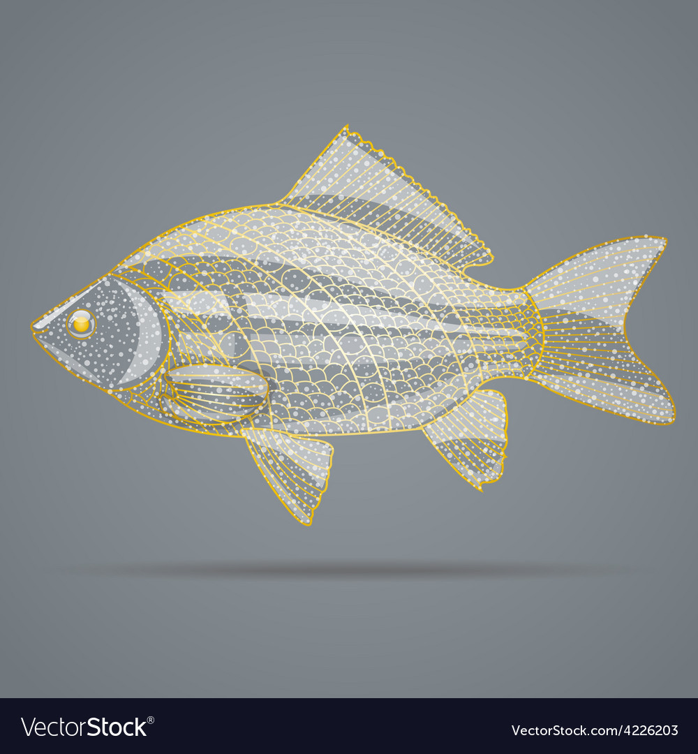 Abstract golden fish vector   Price: 1 Credit (USD $1)