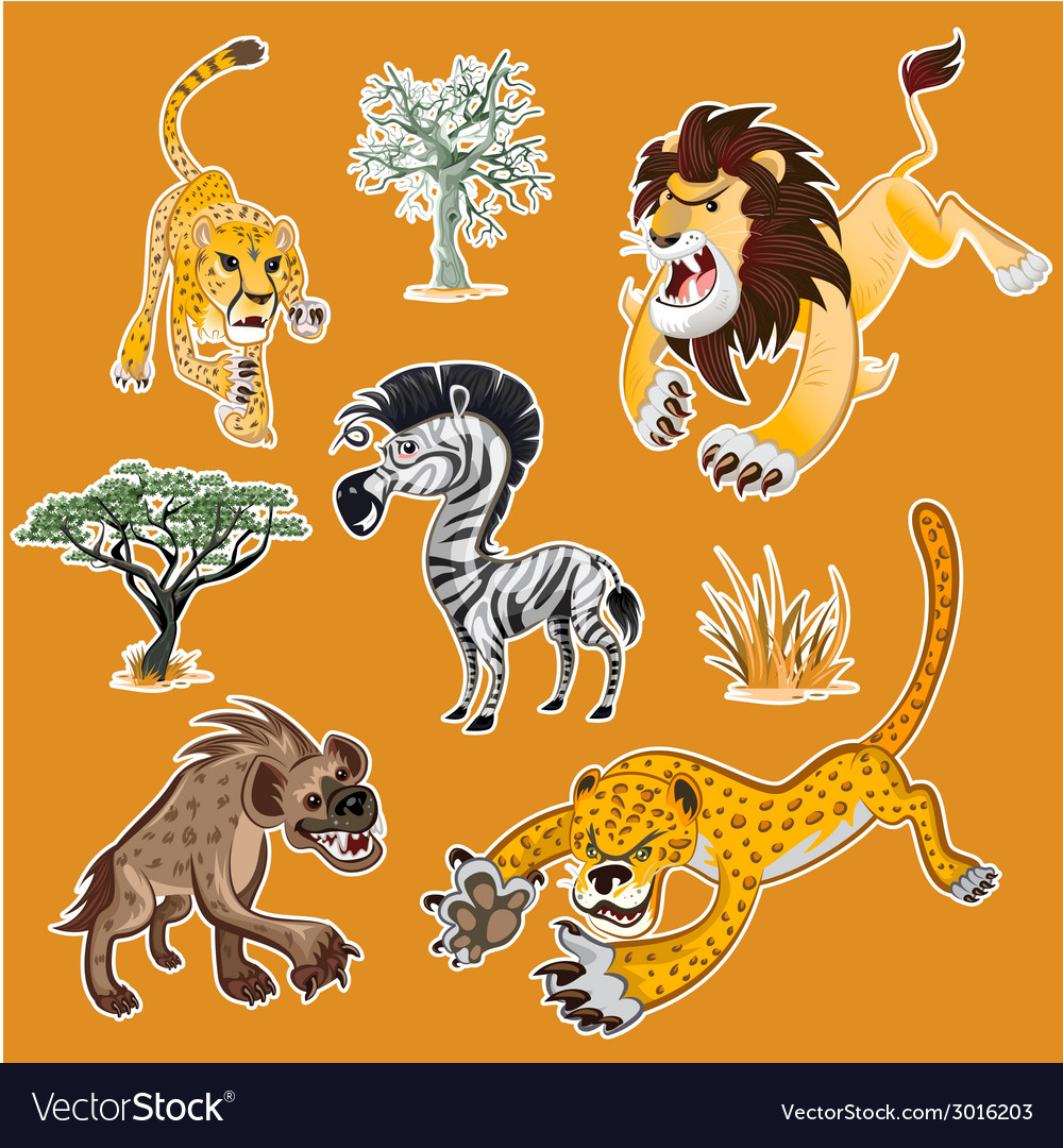 Africa animals trees collection set 01 vector | Price: 1 Credit (USD $1)
