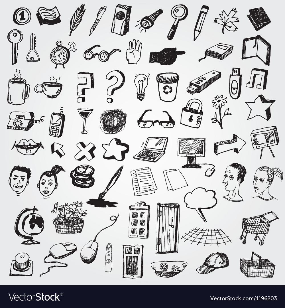 Big set of doodled internet icons vector | Price: 3 Credit (USD $3)