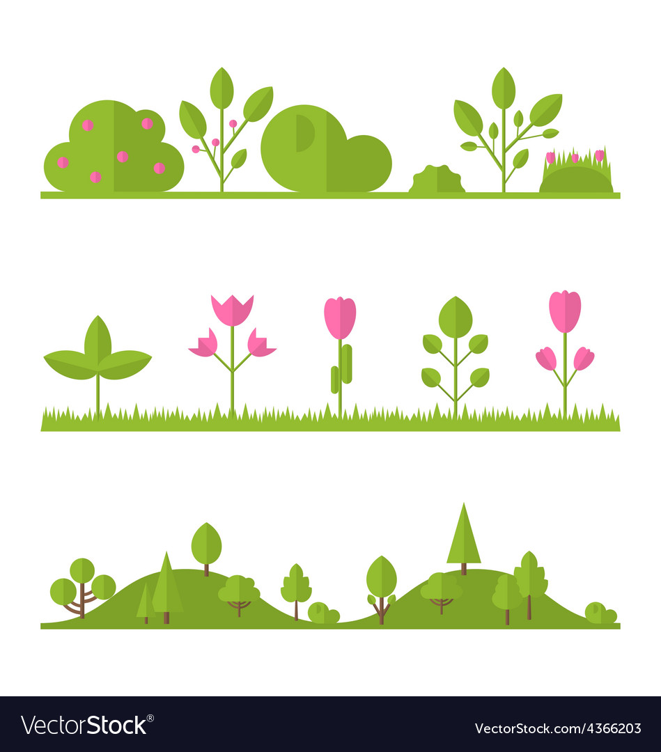 Collection set flat icons tree garden bush vector | Price: 1 Credit (USD $1)