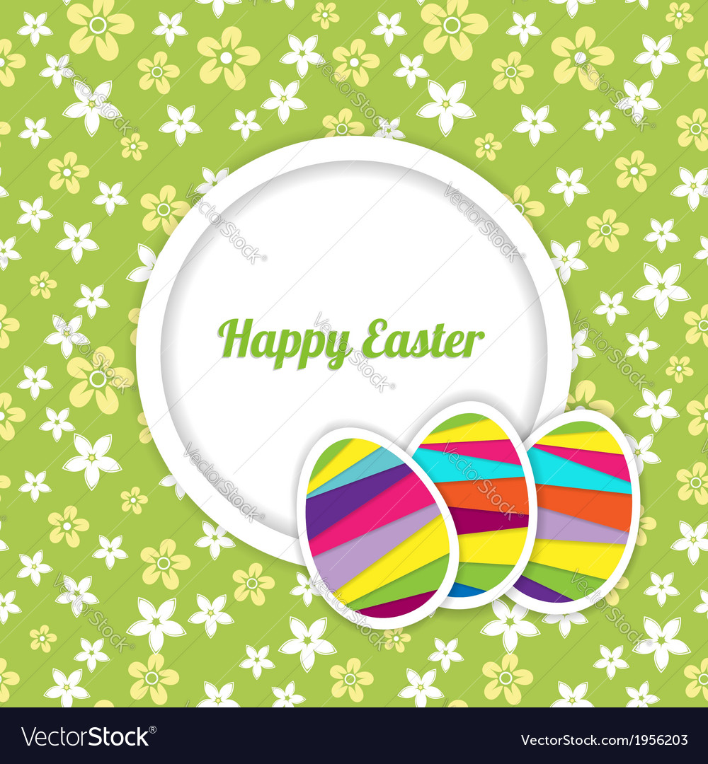 Easter card template on the floral background vector   Price: 1 Credit (USD $1)