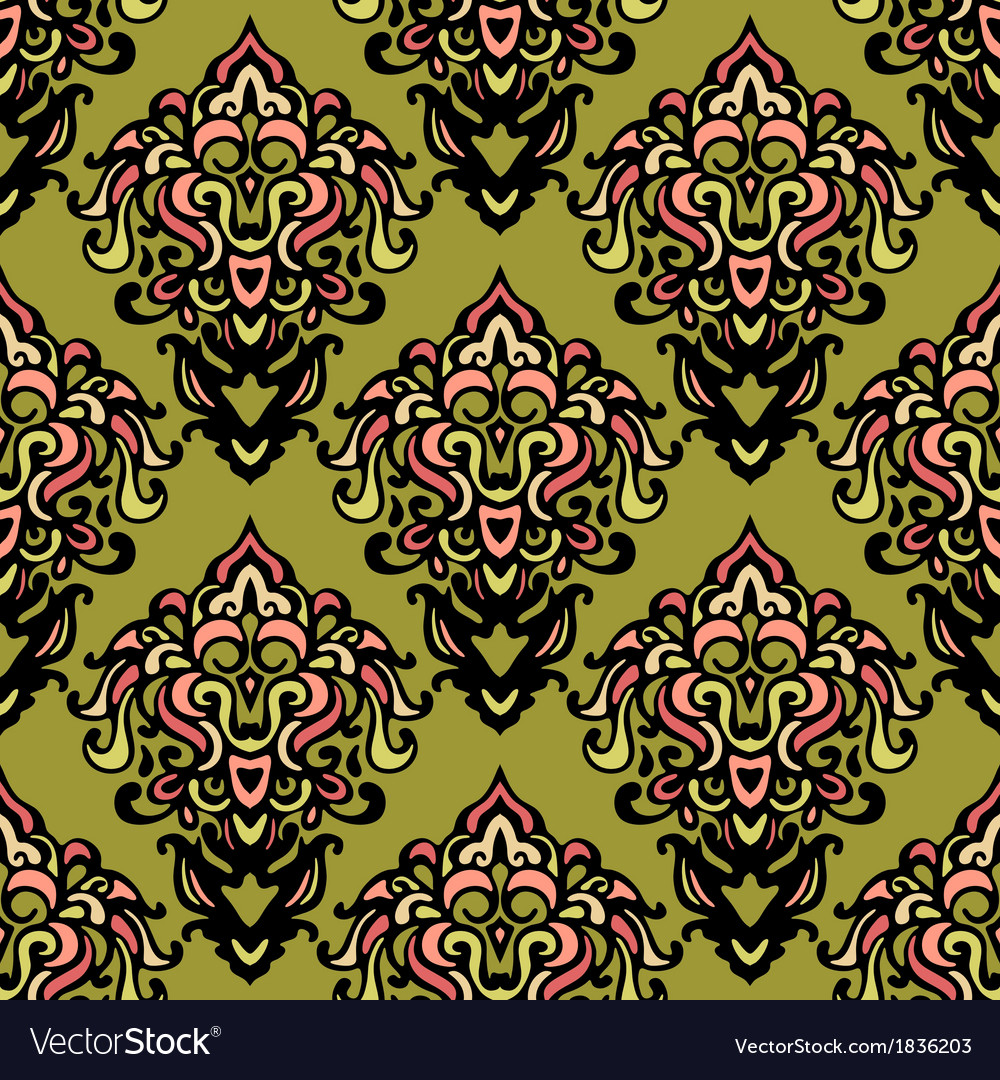 Ethnic damask seamless pattern background vector | Price: 1 Credit (USD $1)