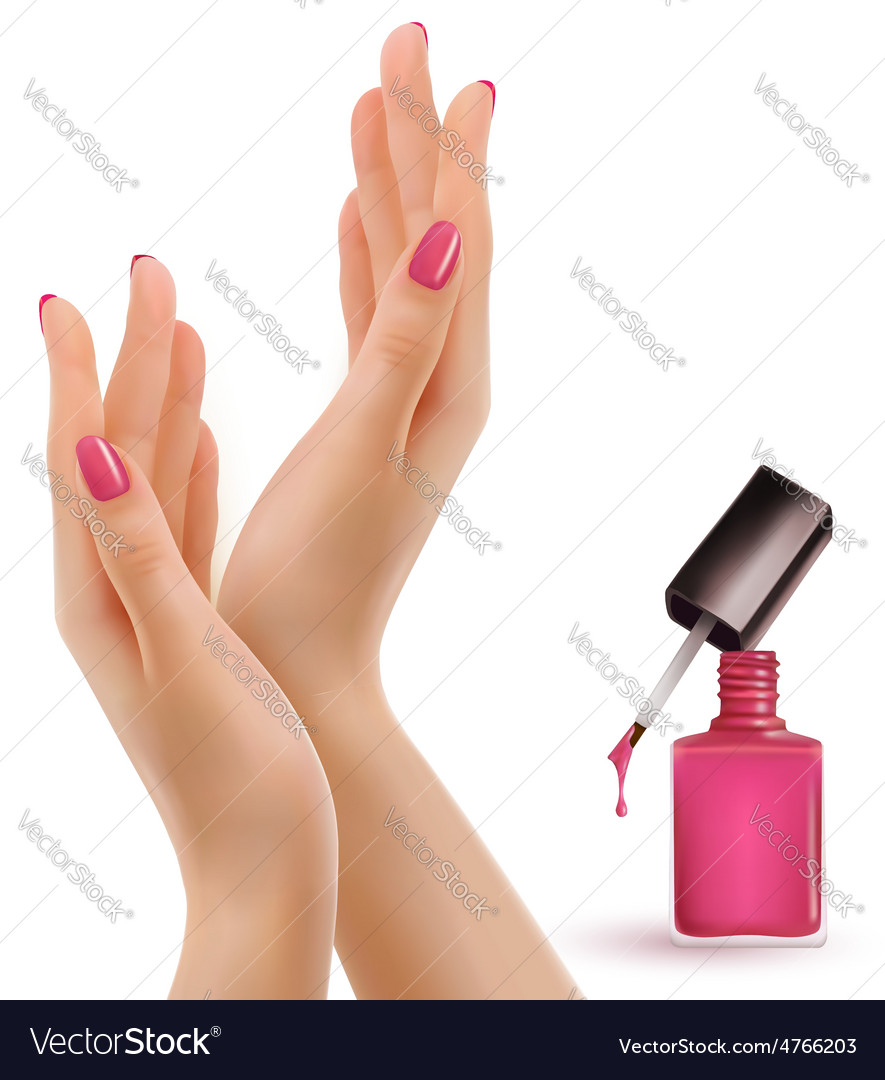 Female beautiful hands with a pink nail polish vector | Price: 3 Credit (USD $3)
