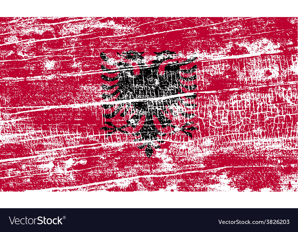 Flag of albania with old texture vector | Price: 1 Credit (USD $1)