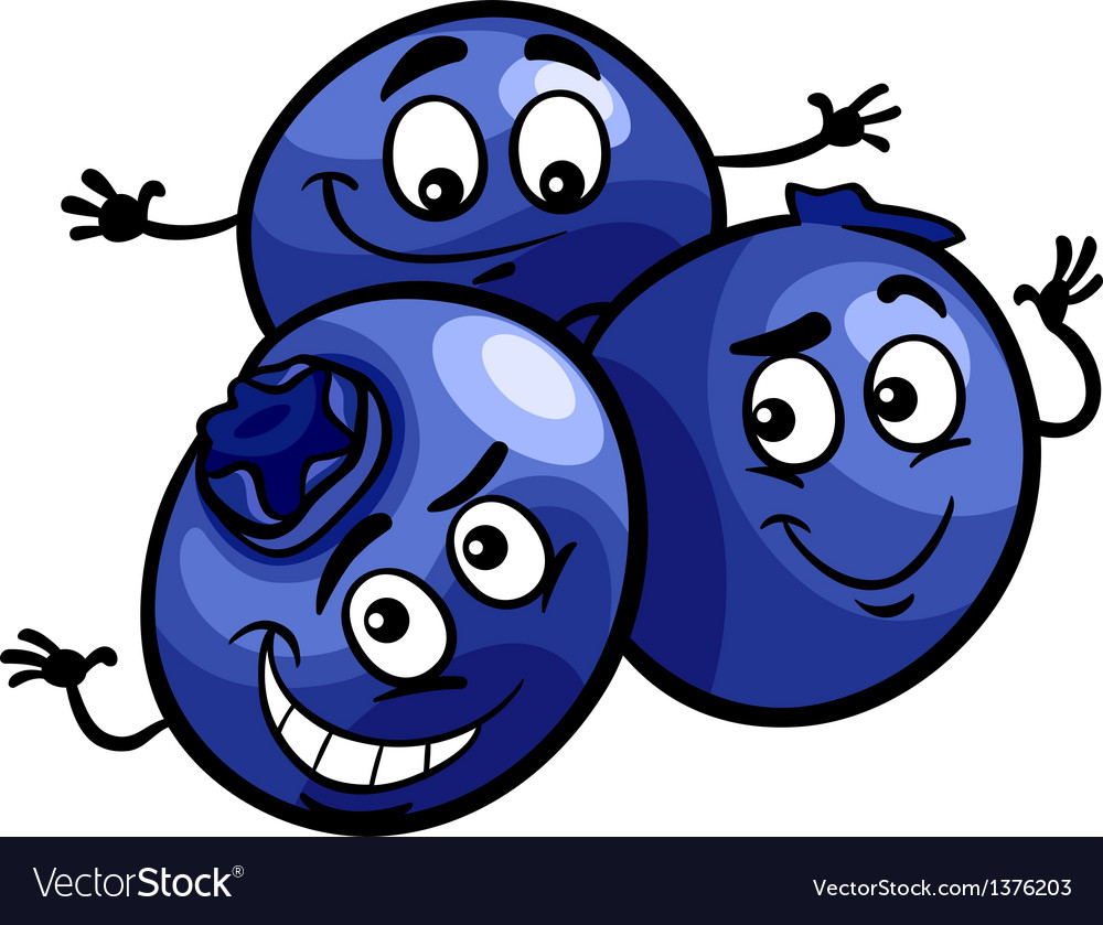 Funny blueberry fruits cartoon vector