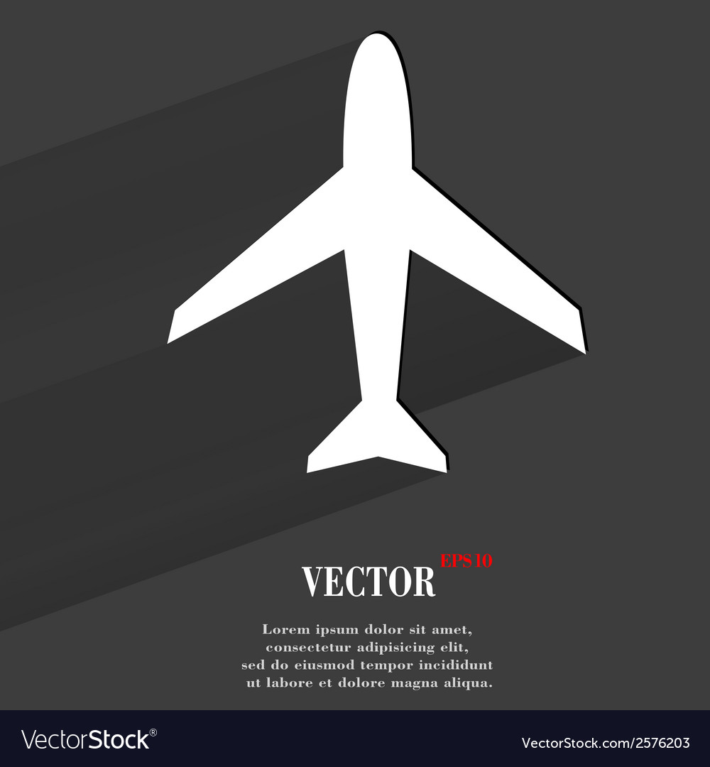 Plane  flat modern web button with long shadow and vector | Price: 1 Credit (USD $1)