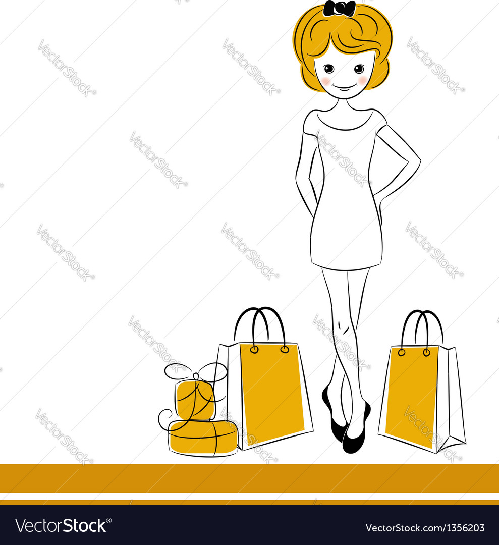 Pretty blond girl with sale bags vector | Price:  Credit (USD $)