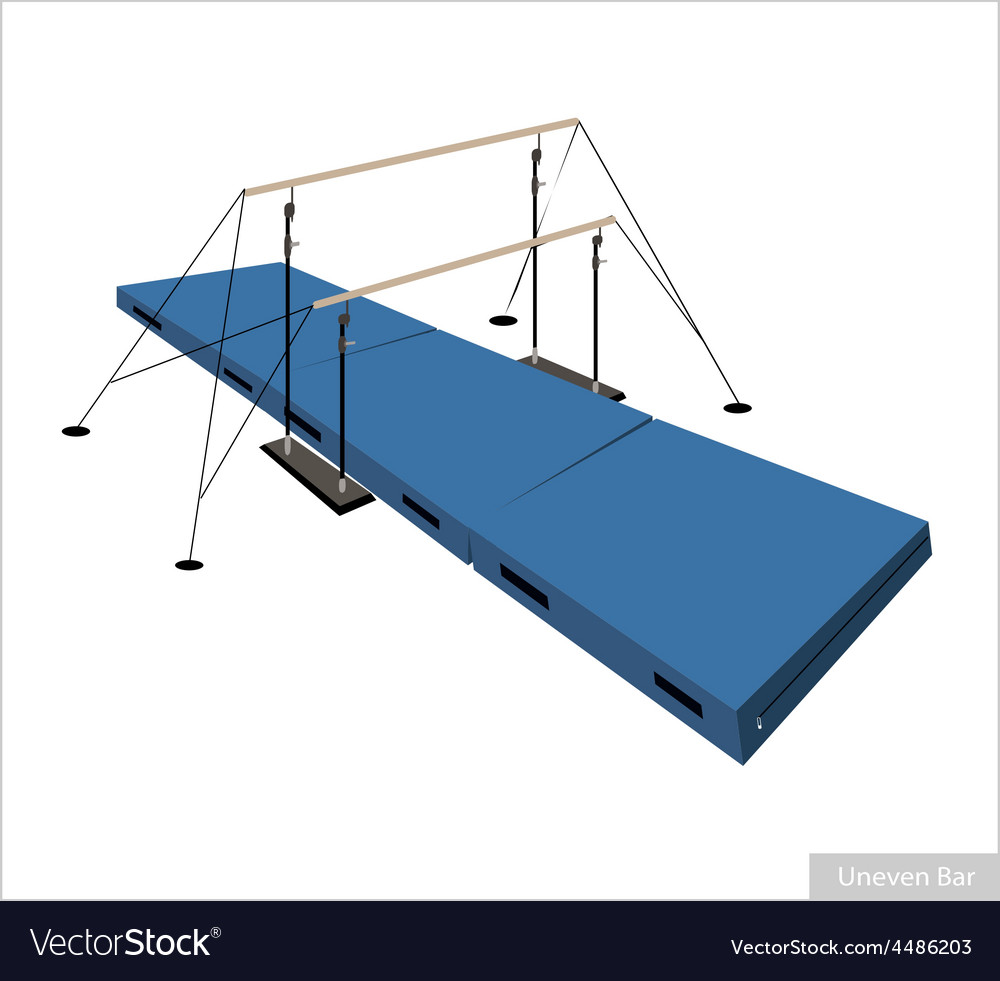 Professional gymnastic uneven bars on white vector | Price: 1 Credit (USD $1)