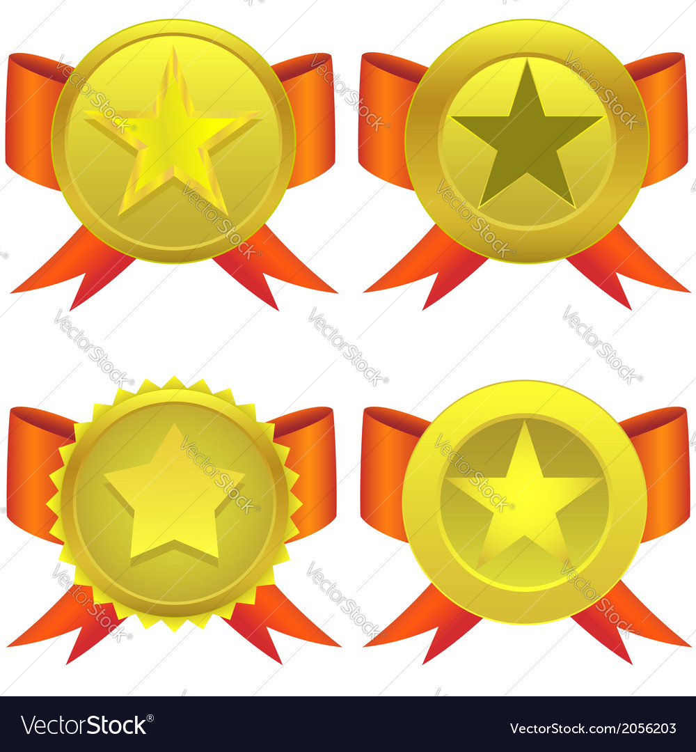 Star shaped medals vector | Price: 1 Credit (USD $1)