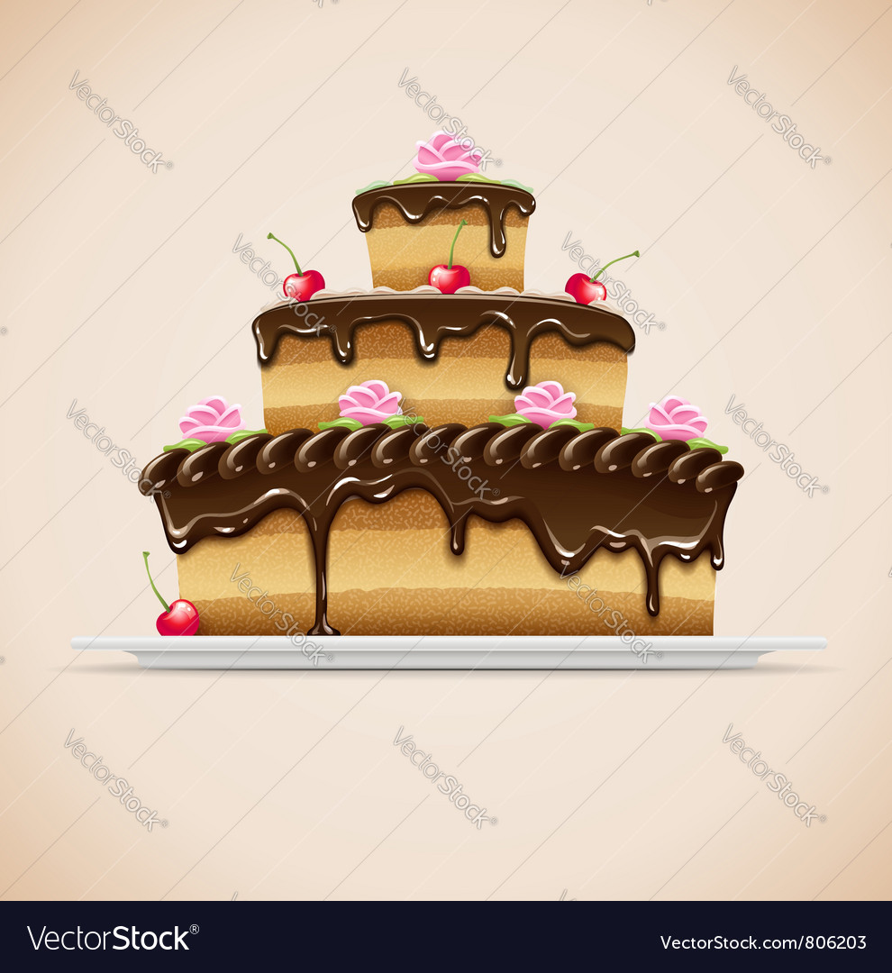 Sweet chocolate cake vector | Price: 3 Credit (USD $3)