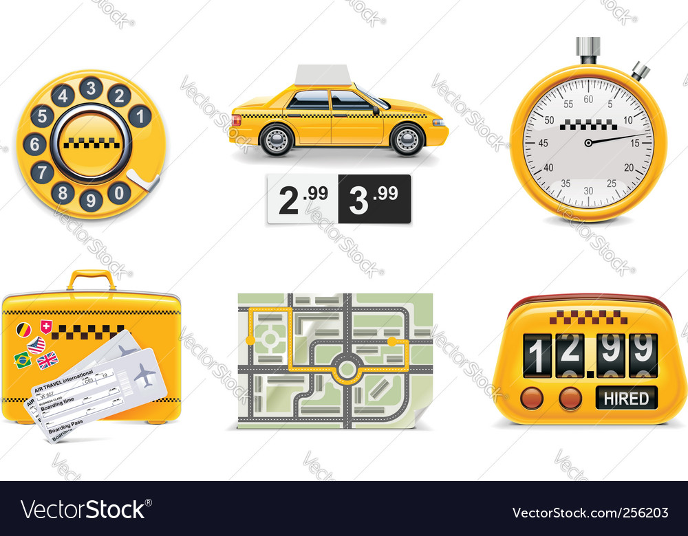 Taxi service icon set vector | Price: 3 Credit (USD $3)