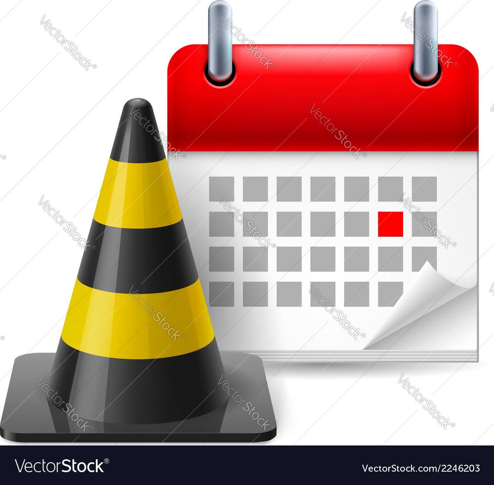 Traffic cone and calendar vector | Price: 1 Credit (USD $1)