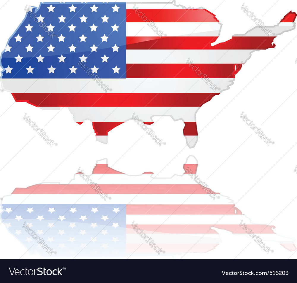 Usa map and flag vector | Price: 1 Credit (USD $1)