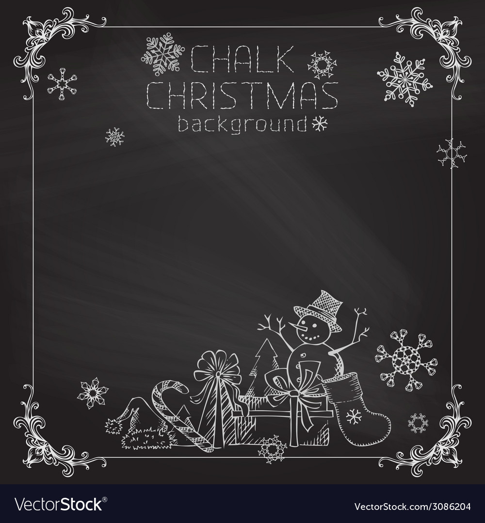 Chalk christmas background vector | Price: 1 Credit (USD $1)