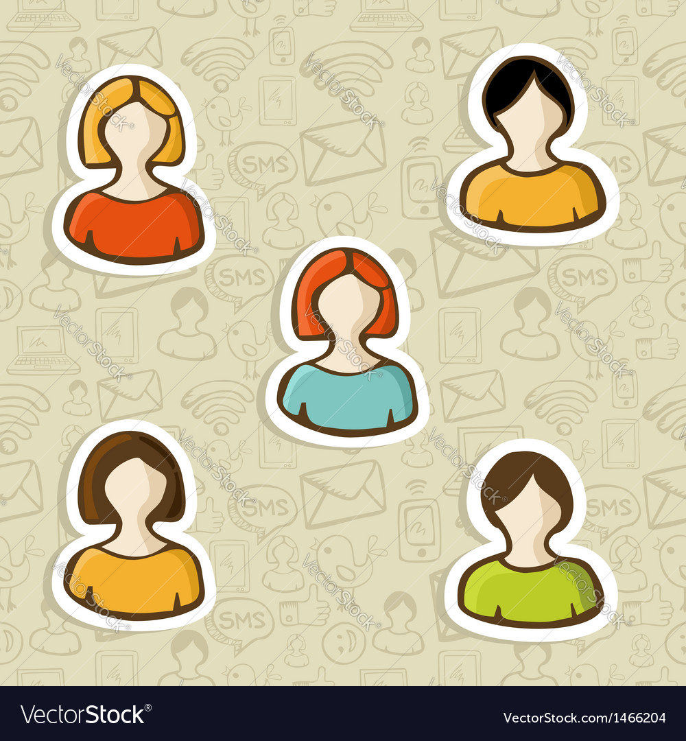 Diversity user profile icon set vector | Price: 1 Credit (USD $1)