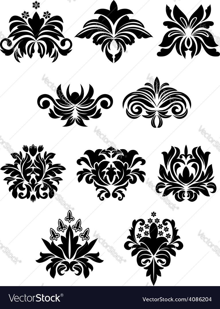 Floral design elements set vector | Price: 1 Credit (USD $1)