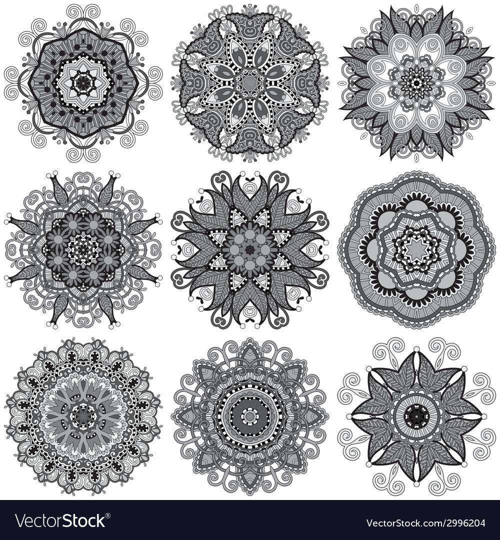 Grey circle lace ornament round ornamental vector | Price: 1 Credit (USD $1)