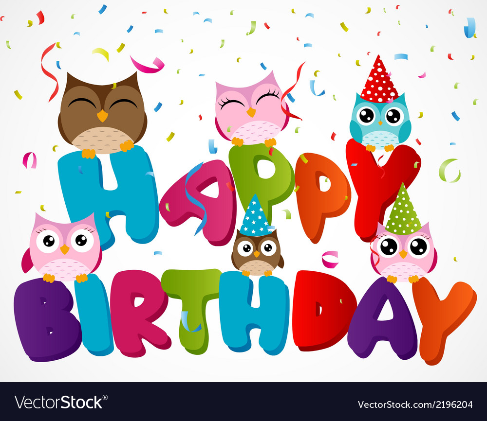 Happy birthday card with owl vector | Price: 1 Credit (USD $1)