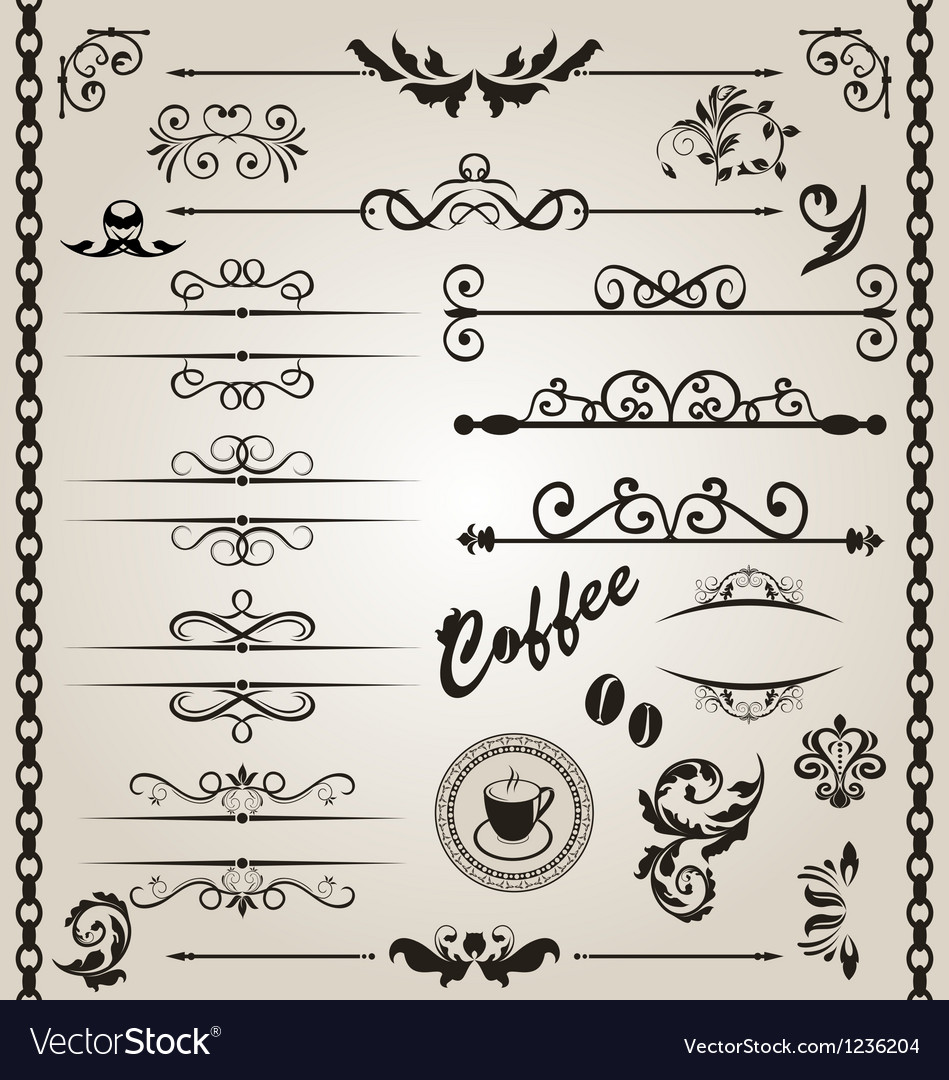 Set floral ornate design elements 7 vector | Price: 1 Credit (USD $1)