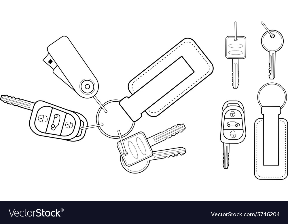 Set of realistic keys icons contour vector | Price: 1 Credit (USD $1)
