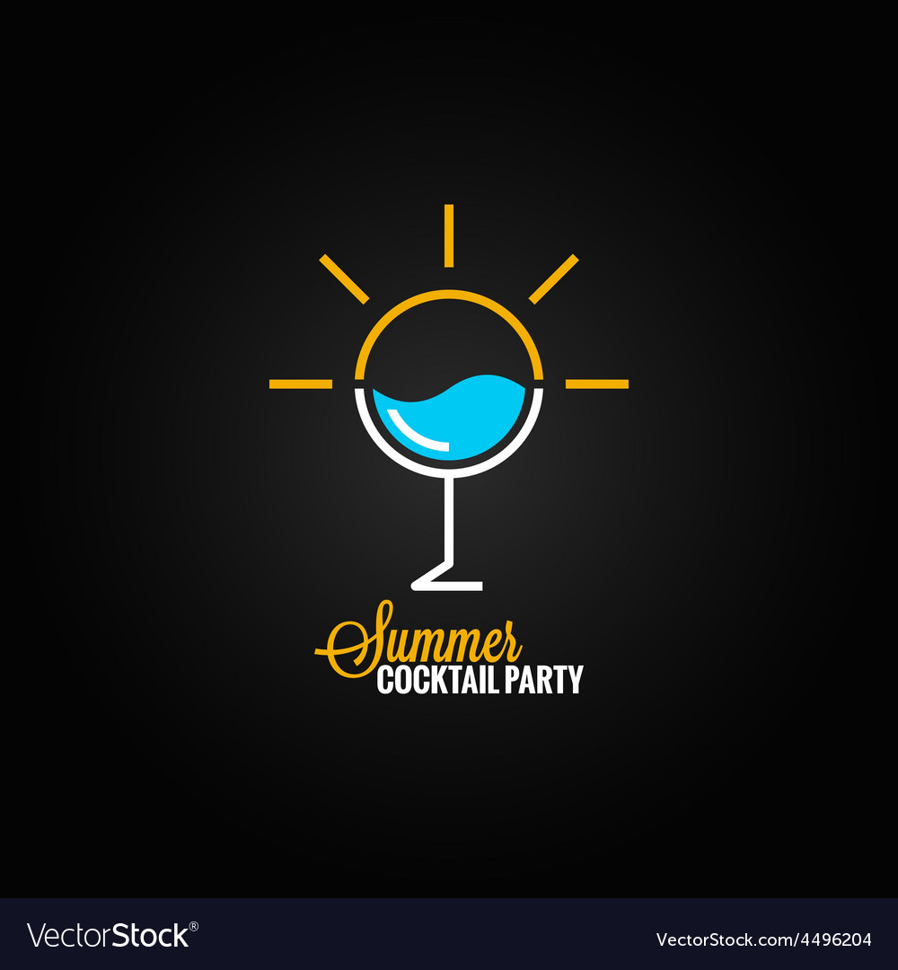 Summer cocktail glass design background vector | Price: 1 Credit (USD $1)