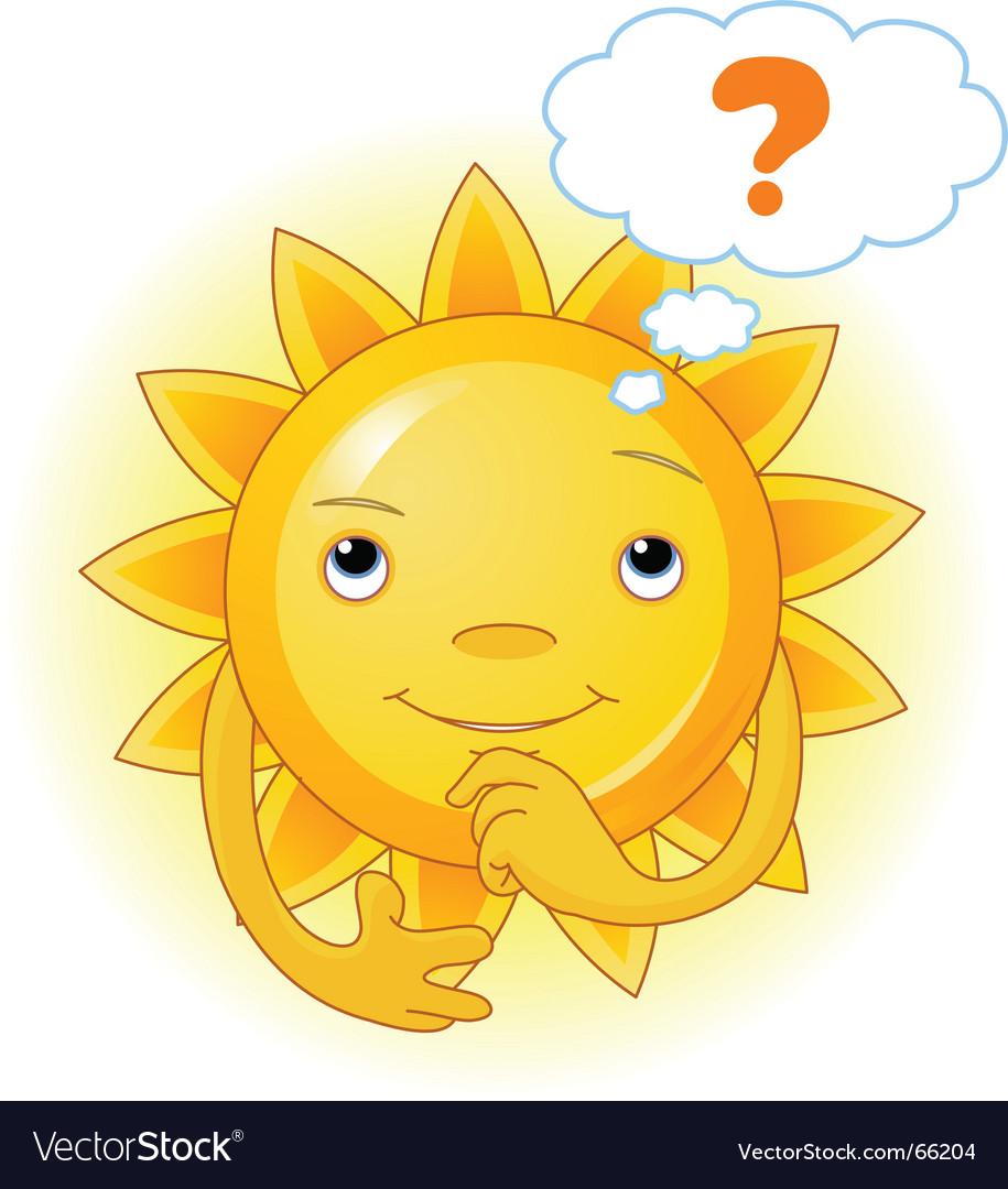 Summer sun thinking vector | Price: 1 Credit (USD $1)