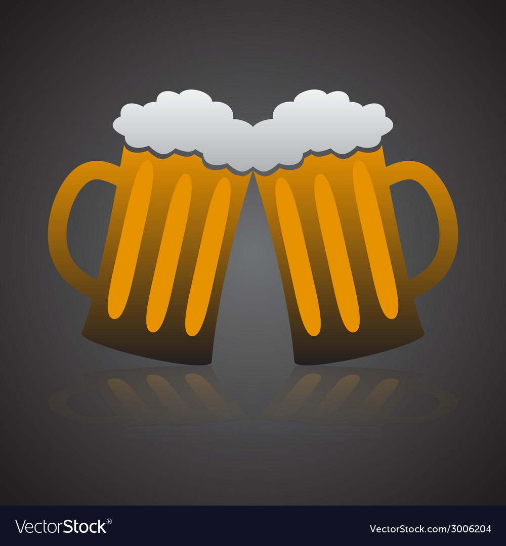 Two full glasses of beer eps10 vector | Price: 1 Credit (USD $1)