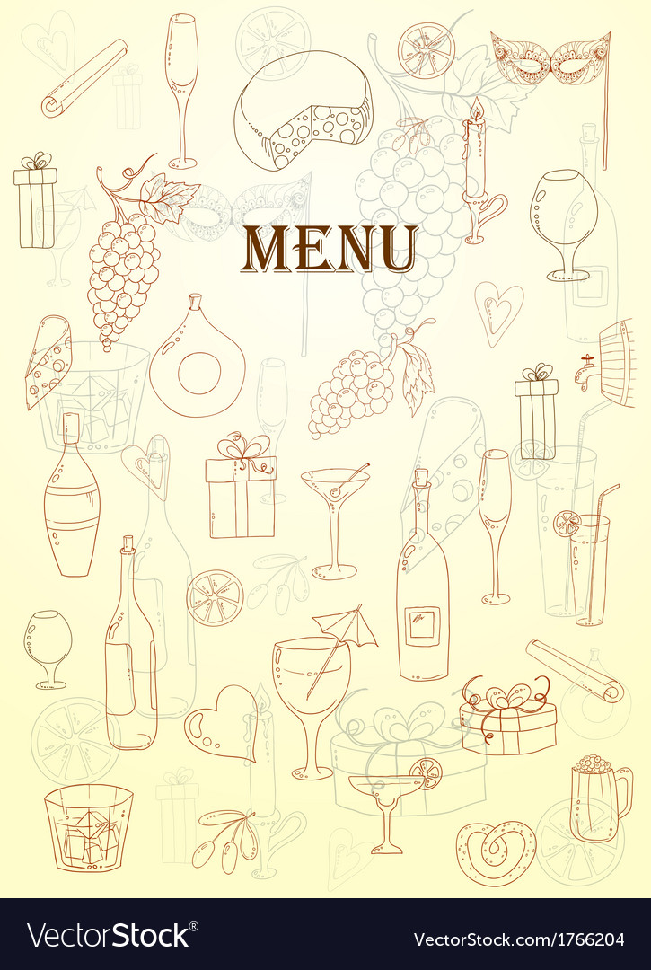Wine and coctail card holiday pattern with love vector | Price: 1 Credit (USD $1)