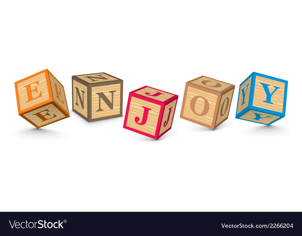 Word enjoy written with alphabet blocks vector | Price: 1 Credit (USD $1)