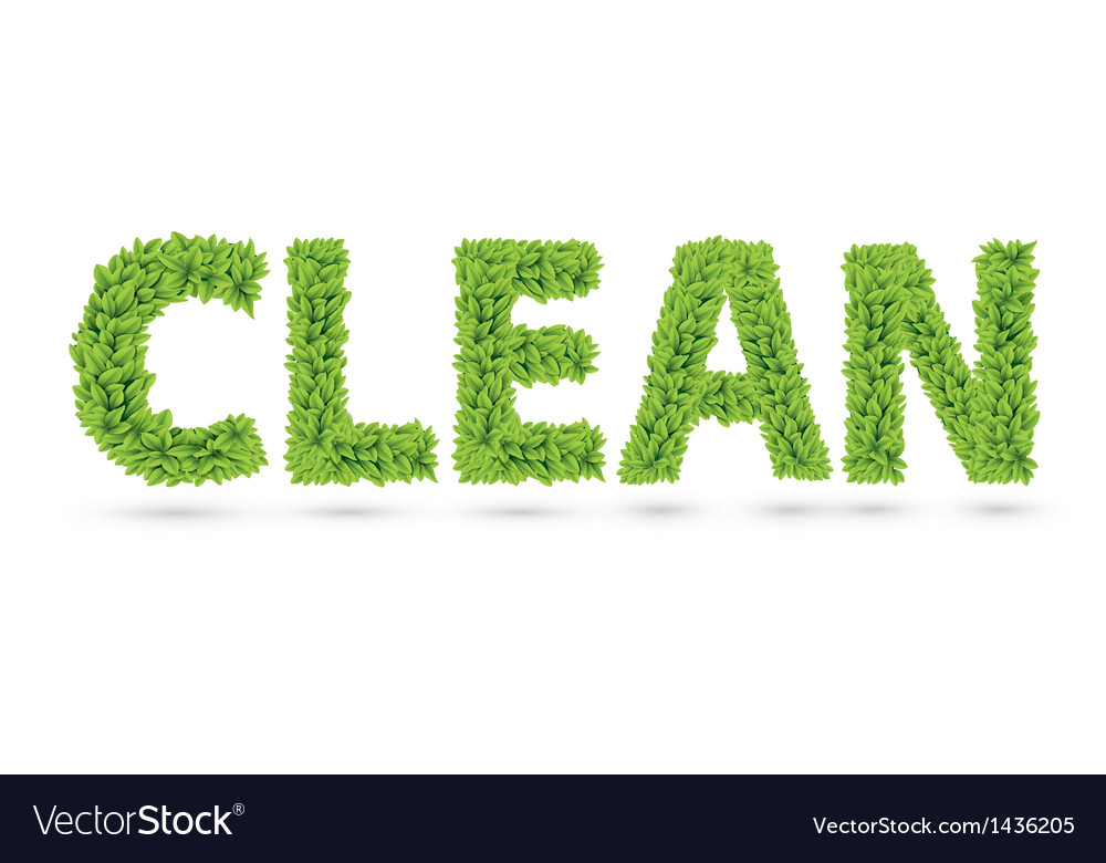 Clean text of green leaves vector | Price: 1 Credit (USD $1)