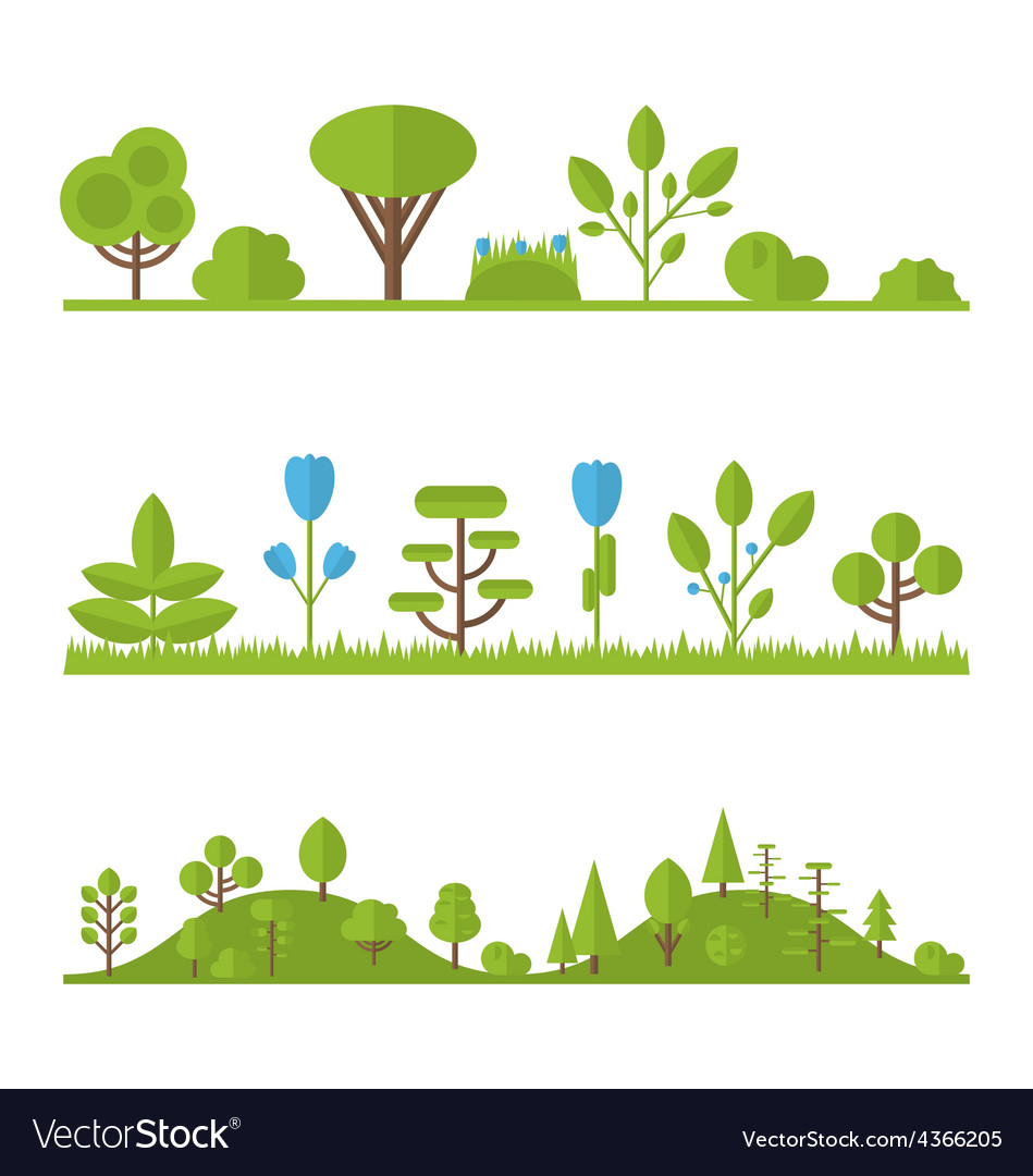 Collection set flat icons tree pine oak spruce fir vector | Price: 1 Credit (USD $1)