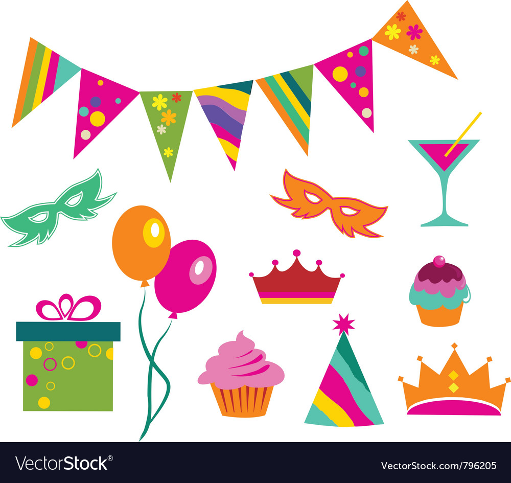 Colorful party set vector | Price: 1 Credit (USD $1)